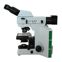 Metallurgical upright microscope with brightfield and darkfield illumination.